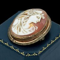 Antique Vintage Nouveau 14k Gold Filled GF Conch Shell Cameo Pin Brooch 11.3g