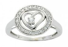 0.3 ct F VS natural round diamond heart love bezel set ring 14k white gold size7