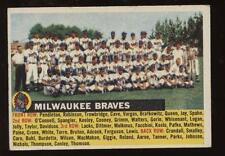 1956 Topps Baseball Team Card Name on Left #95 Milwaukee Braves EXMT+