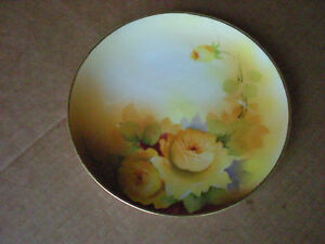 """Vintage NIPPON 6 1/4"""" DESSERT PLATE with Yellow Roses Hand Painted"""