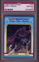 1988 Fleer Basketball Sticker Isiah Thomas #10 PSA 10 GEM MINT Pop 6 FREE SHIP