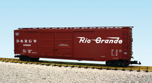 USA Trains G Scale 50 Ft Double Door Box Car R19325B Rio Grande - Mineral Brown