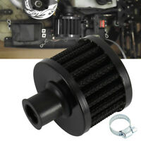 2X 12mm Carbon Round Oil Air Intake Crankcase Vent Valve Cover Breather Filter