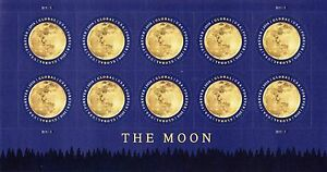 THE MOON GLOBAL FOREVER STAMP SHEET -- USA #5058 GLOBAL