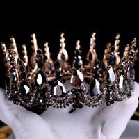 Black Crystal Tiaras Bridal Large Round Crown Baroque Wedding Hair Accessories