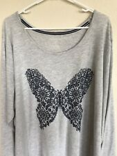 Size 3X Croft&Barrow Intimates Gray Sleepwear With A Blue Butterfly On The Front