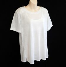 NEW RRP $49.95 PIPER 100% PURE LINEN KNIT TOP / TEE / T-SHIRT CREAM WHITE s 10