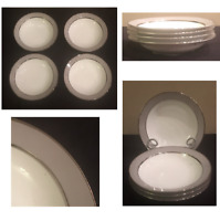 """VINTAGE Sango China 7.25"""" Soup Bowls PLATINA Gray Melody Set of 4 JAPAN"""