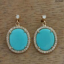 14k Yellow Gold Turquoise Gemstone Diamond Wedding Dangle Fine Earrings Handmade