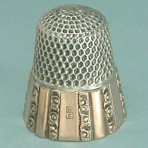 Antique Gold Band Sterling Silver Thimble by Stern Bros. * Circa 1890s