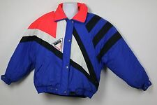 vintage L YAMAHA Ski Snowmobile Jacket Coat NEON w/ Patch GEOMETRIC