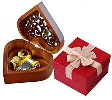 Music Box, Heart Shape Vintage Wood Carved Mechanism Wind Up Musical Box, Girls