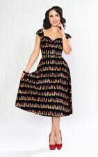 Bettie Page Lipstick Pin Up Charcoal & Red On Holiday Sweetheart Circle Dress 6
