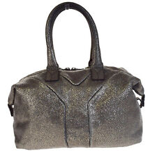 Authentic YVES SAINT LAURENT Logos Hand Bag Leather Silver Made In Italy 01V1766