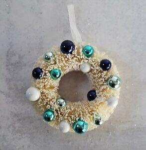 "Bottlebrush Wreath  6"" Natural w BLUE Ornaments Vintage Hanukkah Christmas NEW"