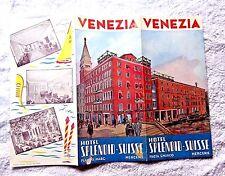VINTAGE PAMPHLET MAP VENICE VENEZIA HOTEL SPLENDID SIUSSE PIAZZA S. MARCO 1950's