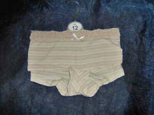 LADIES M&S SILKY FEEL SHORTS LACE TRIM  - SIZE 10 & 12  NUDE STRIPE     -