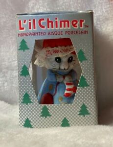 Jasco Christmas Ornament Lil Chimers Mouse Handpainted Bisque Porcelain Bell NOS