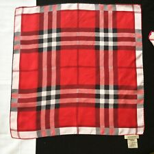 vintage BURBERRY red silk neck scarf / bag twilly Plaid print 18.5 inches