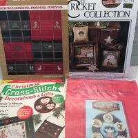 Lot Of 4 Cross Stitch Patterns Charts Christmas Myer Hastings Borders Rowe Gifts
