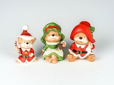 3 Pcs Vintage Homco Porcelain Figurines Christmas Bear Family Santa Claus # 5600