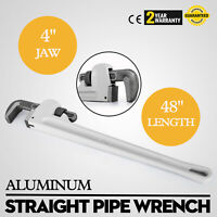 "48"" Aluminum Pipe Wrench 4"" Jaw Straight Pipe Wrench Jaw Plumbing Tool GOOD"
