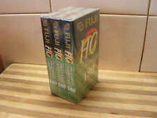 3 Pack Fuji E-180, High Grade, Blank VHS Tapes, Brand New & Sealed, Video