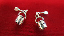"""BULK! 30pc """"Sand bucket"""" charms in antique silver style (BC367B)"""