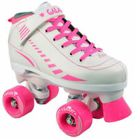New EPIC Galaxy White & Pink Indoor Outdoor Quad Roller Speed Skates Size 5