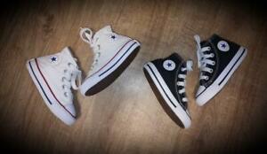 #17 Infant Boys Converse UK Size 5 - 2 x Pairs Black & White
