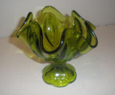 """Vintage Green Footed Compote Bowl L.E. Smith 1960's """"Simplicity"""" Pattern"""