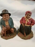 "*RARE (2) Tom Clark Gnome Figures ""Hattie (WITH EARRINGS) & Lawrence"" SIGNED🔥"