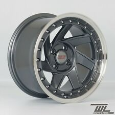 "4 x White Label 204 Grey 15"" x 8.25"" 4x100 ET15 alloys fit MX5 Golf Civic E30"