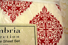 NEW FULL SHEET SET CAMBRIA RED & White Moroccan NO WRINKLE FLAT/FITTED 2 PCS #L9