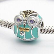 SWEET FUNNY OWL PET ANIMAL CHARM Sterling Silver .925 4 European Bracelets 483