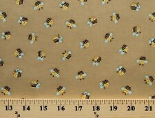 Bees Bumblebees Insects Bugs Tan Kids Cotton Fabric Print by the Yard D783.09