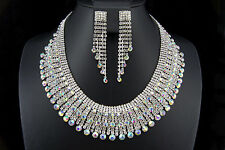 Rhodium Plated Crystal Drop Pendand Necklace Earrings Wedding Jewelry Set 04350