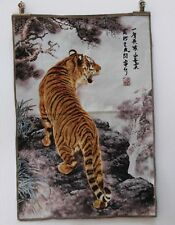 36'' OLD TIBET COLLECTABLE SILK HAND PAINTED PAINTING TIGER STATUE THANGKA