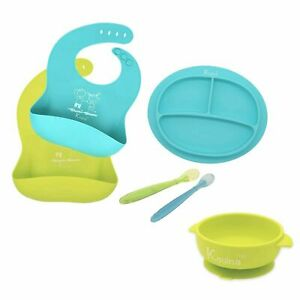Baby Feeding Set Adjustable Silicone Bibs Suction Divided Plate & Bowl Spoons