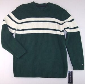 NWT Tommy Hilfiger Boy's 100% Cotton Green & White Sweater, L (16-18), $54.50