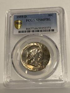 1959-D PCGS MS66FBL Franklin Half Dollar Silver 50C
