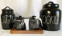Rae Dunn Black Ceramic COOKIES-SUGAR and JAM & JELLY w spoons Canisters