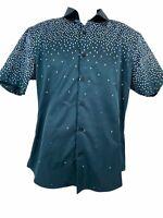 Coofandy Mens Size L Navy Blue Shirt Short Sleeve Dress Button Down Casual Men's