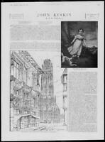 1900 Antique Print - FAMED PERSON John Ruskin Cathedral Spire Rouen Drawing(250)
