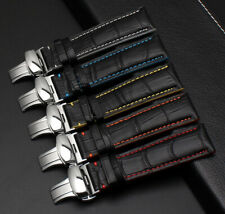 Leather Straps For Seiko Omega and Breitling watch with Deployment Clasp + Tools