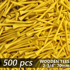 """X 500 YELLOW NEW GOLF TEE NATURAL WOODED TEES 2 3/4"""" 70MM LONG LENGTH"""
