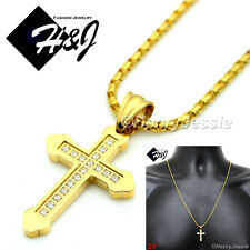 "24""Men Women Stainless Steel 1.5mm Gold Box Link Necklace Cz Cross Pendant*Gp53"