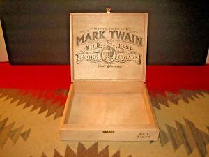 VERY CLEAN MARK TWAIN NO. 1 WOOD CIGAR BOX GREAT ADVERTISING GRAPHICS
