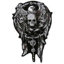 "Motorcycle Biker Uniform Back Patch 4"" X 6"" Dreamcatcher With Skull & Eagle"
