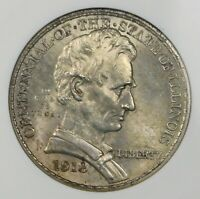 1918 Lincoln Commemorative Silver Half Dollar Coin ANACS MS63. Free Shipping
